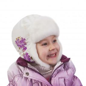 Шапка зимняя для девочки Clovers (плащевка), экрю-сирень