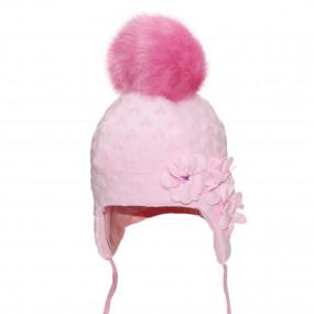 Шапка зимняя Nikoletta (плюш-букле, объёмный декор, камни), розовый