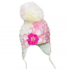 Шапка зимняя Milena (плюш-букле, объёмный цветок), шампань с белым