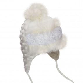 Шапка зимняя Dominika (плюш-букле, мех кролик), шампань с белым