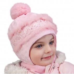 Шапка зимняя Dominika (плюш-букле, мех кролик), чайная роза