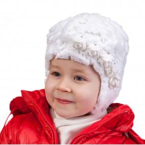 Шапка демисезонная Emma (плюш-мех на 100% хлопке), белый