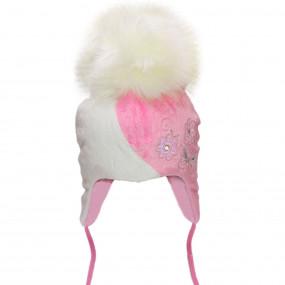 Шапка зимняя Luchia с вышивкой (плюш-мех, инсулейт, хлопок) розово-белый