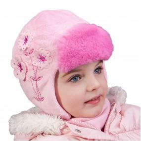 Шапка зимняя Stefania с козырьком (плюш-мех, вышивка, стразы) розовый