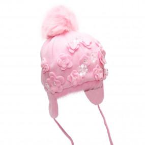 Шапка зимняя Laura (флис с натуральным мехом), розовый