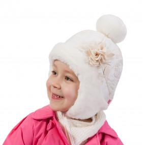 Шапка зимняя Angelika (плащевка, объемный декор), экрю