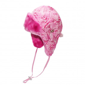 Шапка зимняя для девочки Elza (плащевка принт), розовый