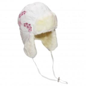 Шапка зимняя Agata (плащевка, вышивка), экрю