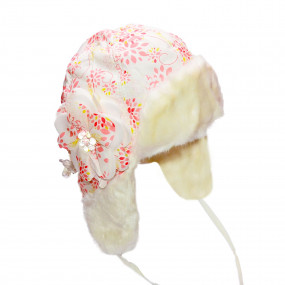 Шапка зимняя для девочки Blanka (плащевка принт), экрю
