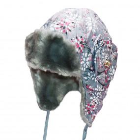 Шапка зимняя для девочки Elza (плащевка принт), серый