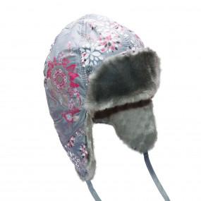 Шапка зимняя для девочки Agneshka (плащевка принт), серый