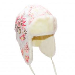 Шапка зимняя для девочки Agneshka (плащевка принт), экрю