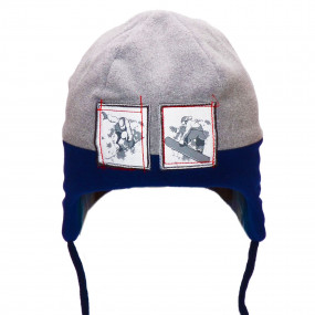 Шапка зимняя для мальчика Snowman (флис, инсулейт), серо-синий