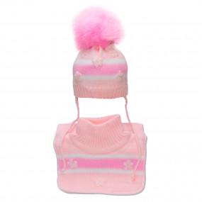 Комплект зимний 2 в 1 (шапка + манишка) для девочки TUTU, розово-молочный