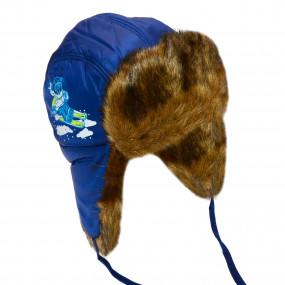 Шапка зимняя для мальчика Military (плащевка, мех), тёмно-синий