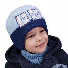 Шапка зимняя для мальчика Snowman (флис, инсулейт), голубой с синим