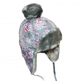 Шапка зимняя для девочки Gabriel (плащевка принт), серый