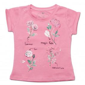 Футболка для девочки Flowers, розовый