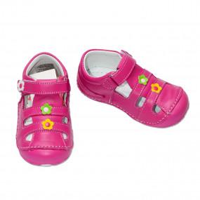 Первая обувь для девочки (кожа, супинатор), фуксия