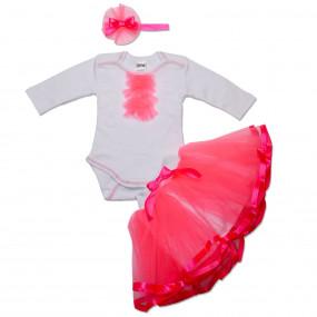 Комплект Berry (юбка из фатина, боди, повязка), розовый ультра