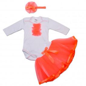 Комплект Berry (юбка из фатина, боди, повязка), корал ультра