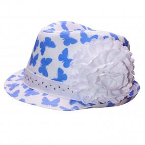Шляпка для девочки Butterfly (стразы), голубой