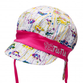 Панама с козырьком и завязками UV50+ (sun protection), абстракция с розовым