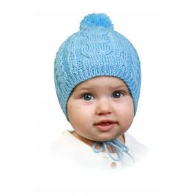 Первая зимняя шапочка Буся (на синтепоне), голубой