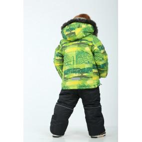 Комплект зимний Snowboarder для мальчика, с подстежкой из овчины (салатовый принт)