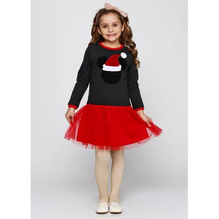 Платье НОВОГОДНЕЕ двухнитка и еврофатин (серый с красным)