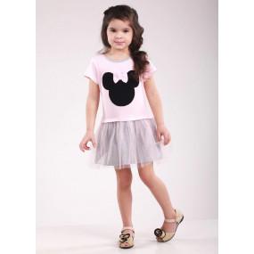 Платье МИККИ, короткий рукав (розовый с серым)