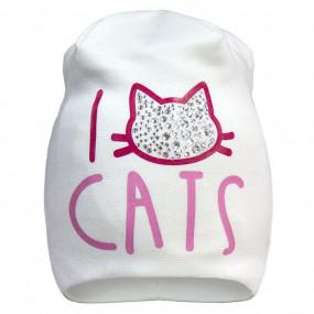 Демисезонная шапочка для девочки I love CATS (премиум качество)