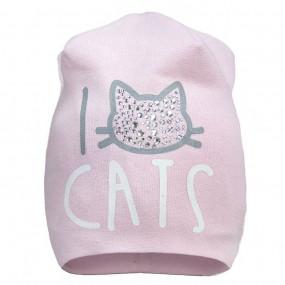 Демисезонная шапочка для девочки I love CATS (премиум), розовая