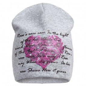 Демисезонная шапочка для девочки Roses Heart (премиум), серый меланж