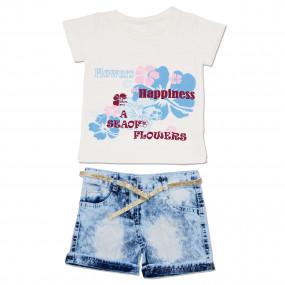 """Футболка, джинсовые шорты """"Цветы"""""""