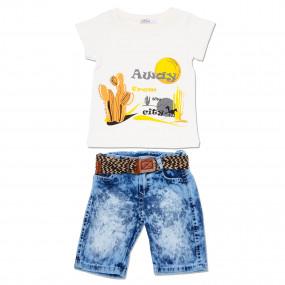 """Футболка, джинсовые шорты """"Кактус"""""""