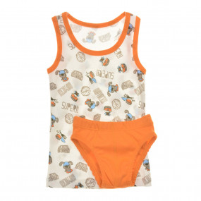 Комплект белья Super DOG для мальчика (рибана), белый/оранж