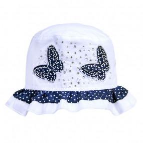 Панама для девочек Бабочки (синий декор) 100% хлопок