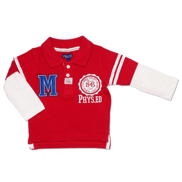 """Поло с двойным рукавом для мальчика """"Minoti"""", красный"""
