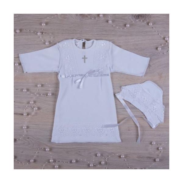 """""""Кристина-2"""" сорочка для крещения девочки +шапочка (белый"""