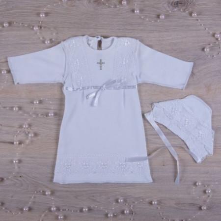 """""""Кристина-2"""" сорочка для крещения девочки +шапочка (белый интерлок)"""