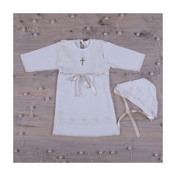 'Христина-2' сорочка для хрещення +шапочка (молочный интерлок)