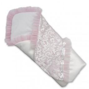 Конверт-одеяло Сяйво атлас-гипюр (зимний), бело-розовый 80 х 80