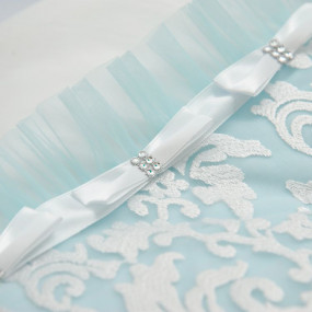 Конверт-одеяло Сяйво атлас-гипюр (зимний), бело-голубой 80 х 80 см