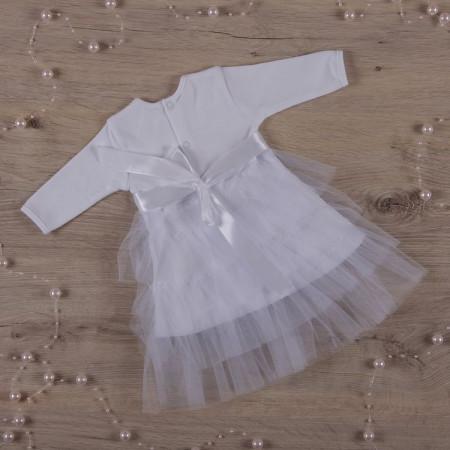 """Платье для фотосессии """"Нежность"""" дл. рукав (белый интерлок, фатин)"""