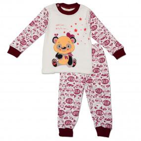 Пижама детская Мишка (бордо), интерлок