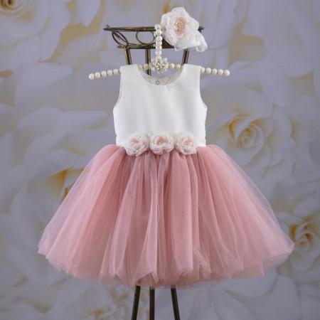 "Платье ""Емілія"" с вышивкой + повязка (атлас, фатин) розовая пудра"
