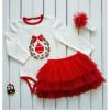 Комплект НОВОГОДНИЙ для девочки (боди, юбка, повязка)