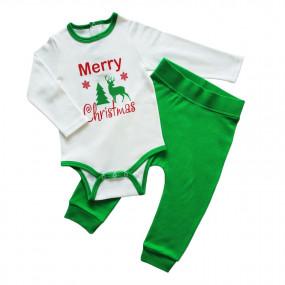 Комплект новогодний Merry Cristmas, интерлок (зеленый)