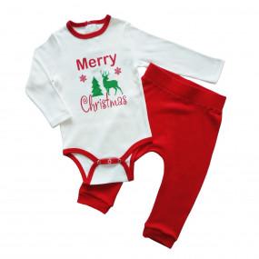 Комплект новогодний Merry Cristmas, интерлок (красный)